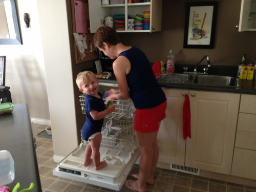 Helping Mom with dishes
