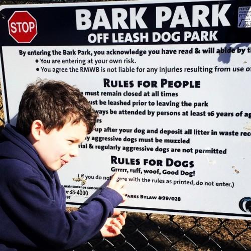 Bark Park rules.