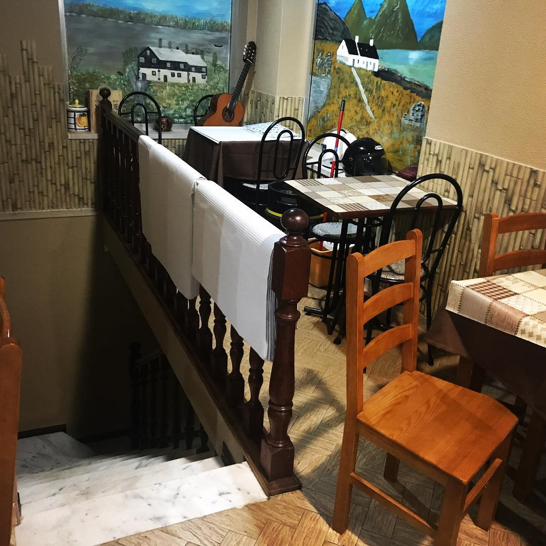 """At a local restaurant … Xavier: """"I wonder what's downstairs."""" Maxi: """"The dungeon. Where they keep the bodies of people who starved to death waiting for their food."""""""