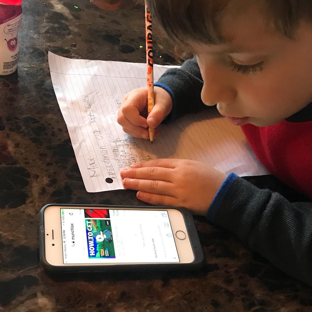 "Maxi ""amending"" his Christmas list. Life was simpler before these kids learned to Google."