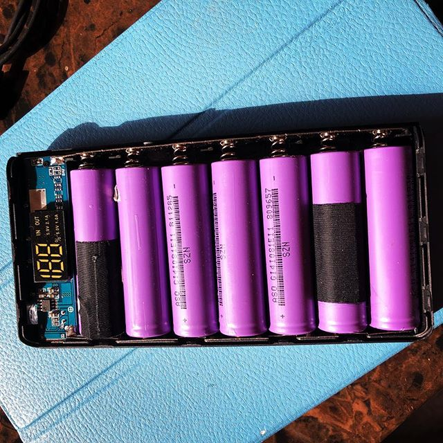 """Homemade"" battery pack. From recycled laptop batteries."