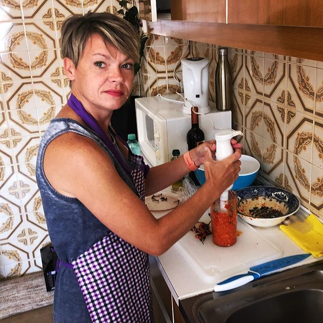 """The machine is still on, Moira."" Pam making Piri-Piri sauce."