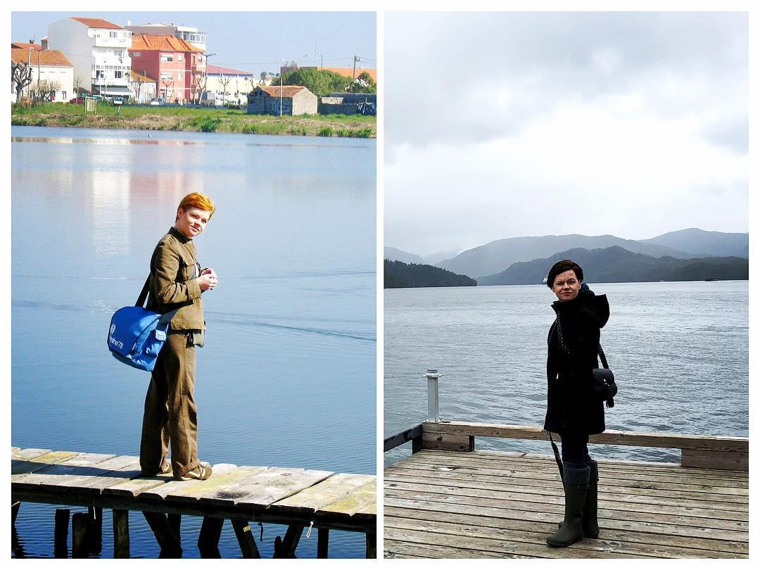 Pam, standing on a pier during Spring Break. 14 years and 8000 kms apart.  Not much has changed.