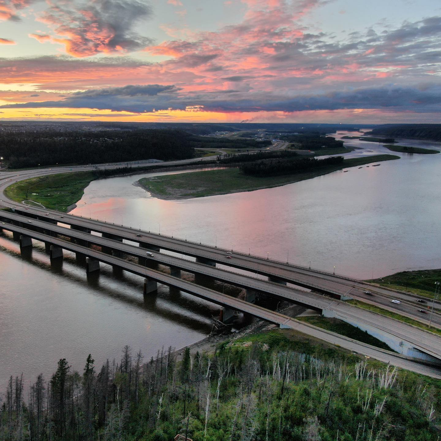Athabasca River Bridges as seen from Abasand.  Believe it or not, #nofilter ! #ymm #sunset