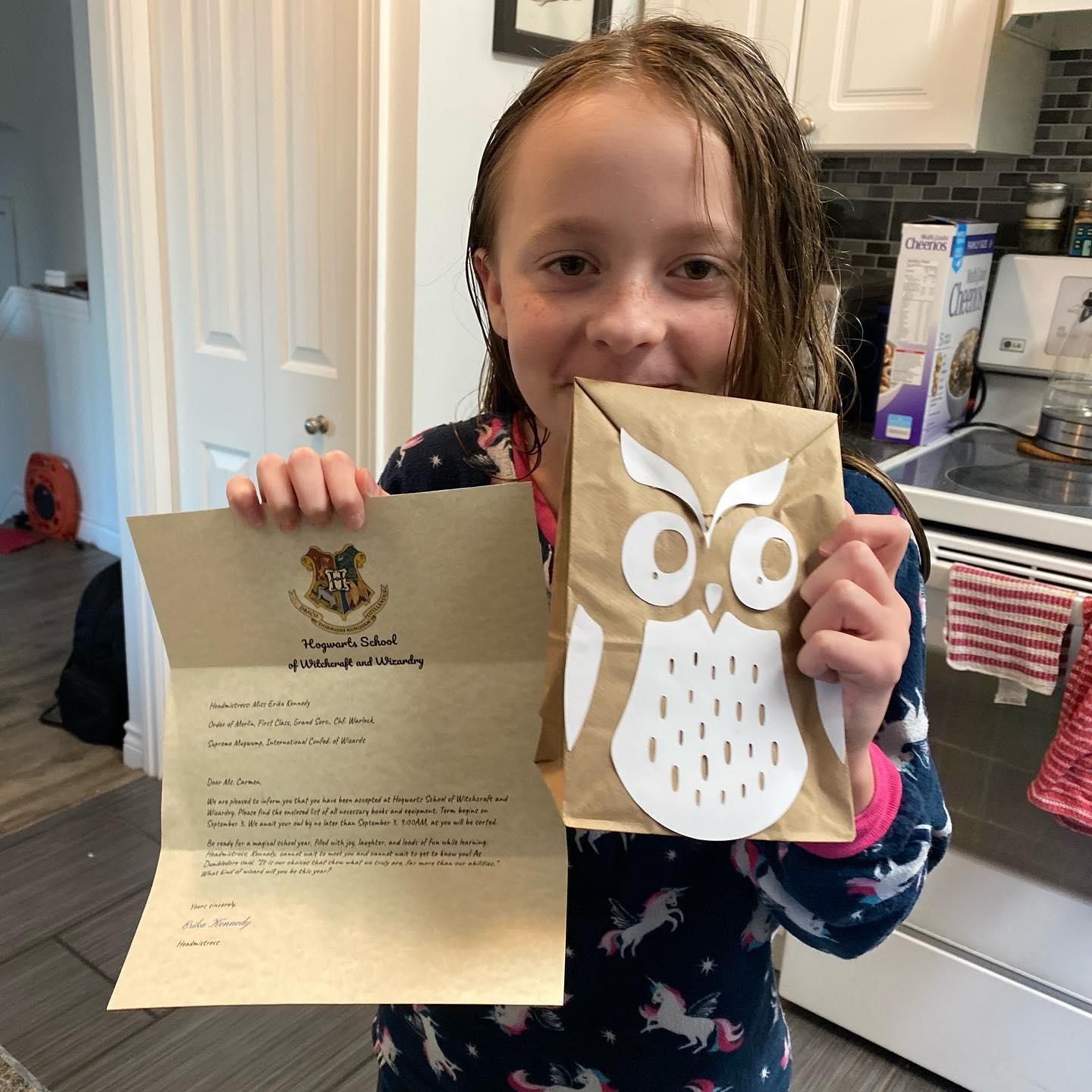 Carmen's owl delivered this today.  School tomorrow!