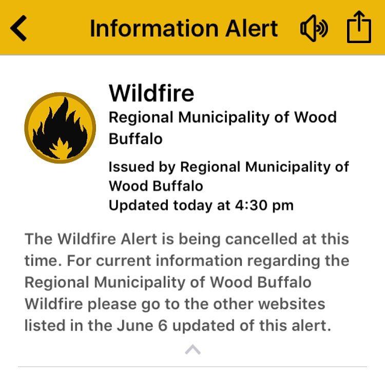 Wildfire alert is cancelled! Woah. #ymm #ymmfire
