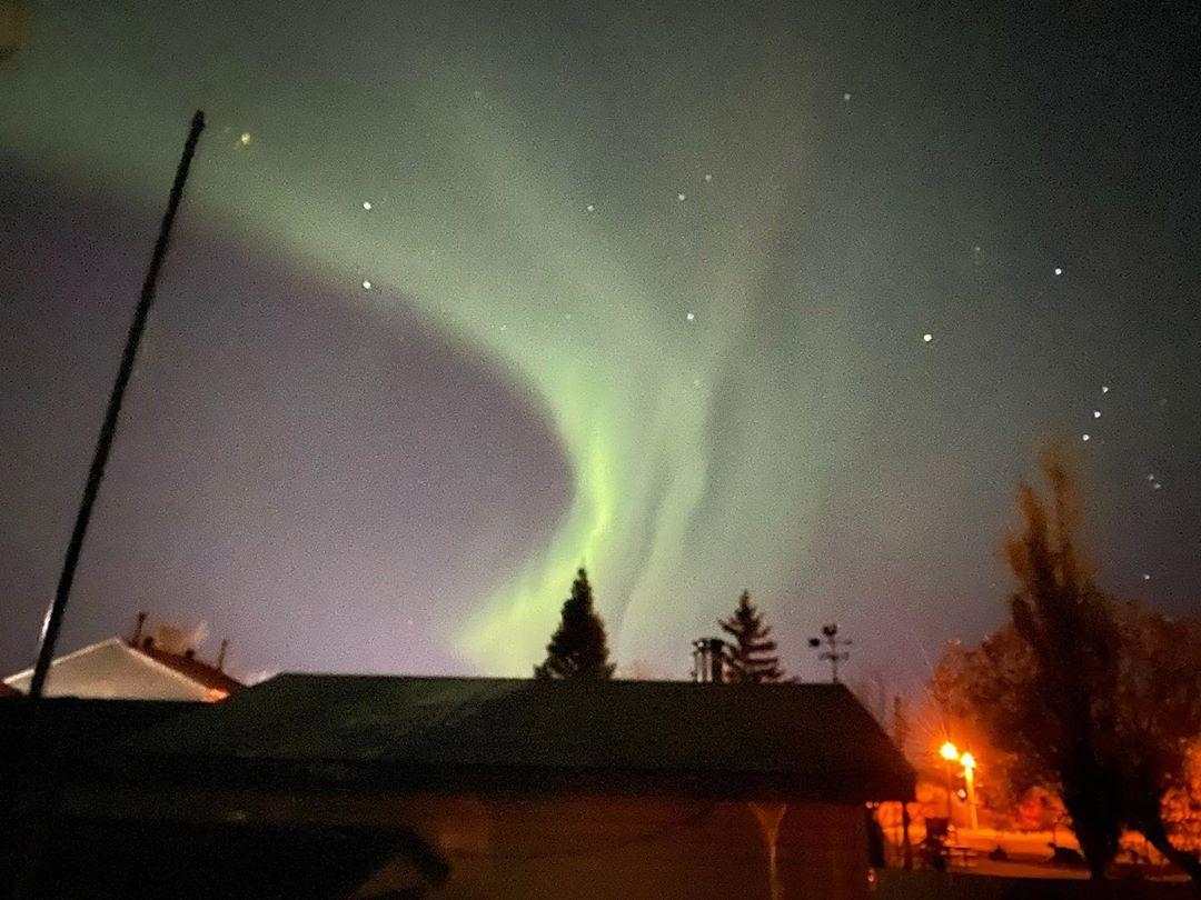 Northern Lights.  Handheld phone shot  2 second exposure.