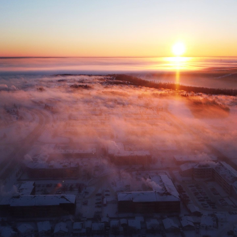 Ice fog sunrise.